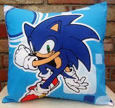 Cuddle Cushion Sonic The Hedgehog Fabric Cushion Nintendo Handmade By Alien