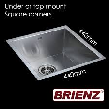 top mount stainless steel sink kitchen laundry sink hand made single bowl 440mm x 440mm square