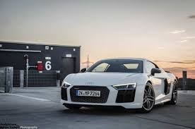Audi R8 White - 2015 audi r8 v10 plus stars in photo session on top of a building