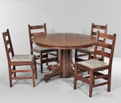 gustav stickley dining table and five chairs sale number 3057m