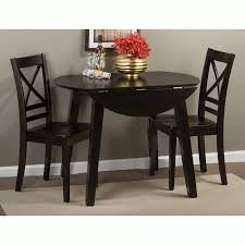 simplicity espresso 3 piece dining set drop leaf table with 2