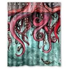 octopus and ship shower curtain octopus bathroom by folkandfunky