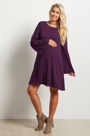 purple chiffon bell sleeve maternity dress