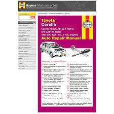 haynes manuals online toyota corolla ae101 102 ae112 zze122r