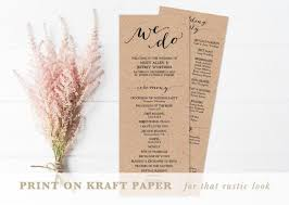 kraft paper wedding programs printable wedding program wedding program template editable text