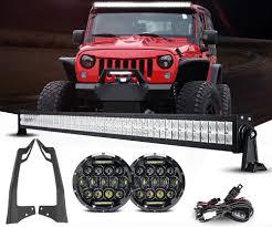 Led Vehicle Light Bar by Jeep Jk Mvp Led Headlights U0026 Light Bar Package Leds 4 Less