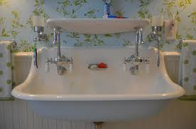 fabulous trough bathroom sink with two faucets including standing