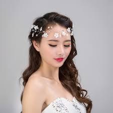 lace headwear 1pcs beauty lace headwear pearl white flower wedding