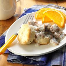 homemade biscuits u0026 maple sausage gravy recipe taste of home