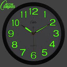 14 inch glow in the dark wall clock modern design with mute quartz