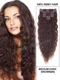 curly hair extensions inch 4 medium brown clip in hair extensions wavy 9 pcs