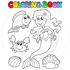 cartoon coloring book mermaid and sea creatures by clairev toon