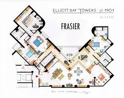 hand drawn floor plans of popular tv shows frasier trendland