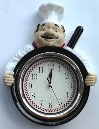 Italian Chef Decor Fat Italian Chef Pizza Pan White Black Red 12 Hr Clock Kitchen