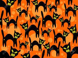 halloween background graphics cartoon black cats on an orange background halloween illustration