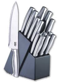 cook n home 15 piece stainless steel cutlery set with storage block