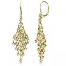 dangle diamond earrings bezel set dangling chandelier diamond earrings 14k yellow gold 2 27ct