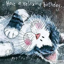 alex clark take it easy birthday card black u0026 white pussycat