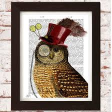 steampunk owl with top hat ethical market