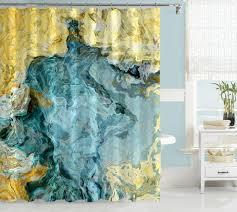 beach abstract shower curtain aqua blue yellow tan cream