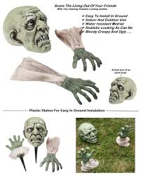 Best Halloween Light Show Amazon Com Prextex Halloween Zombie Face And Arms Lawn Stakes For