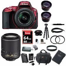 nikon d5500 dx format digital slr w 18 55mm vr ii kit red and