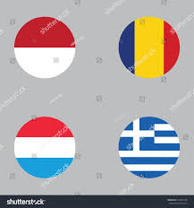 Flag Romania Round Button National Flag Romania Luxembourg Stock Vector