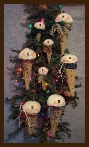 image detail for how to make primitive snowmen ornaments out of