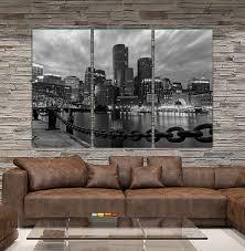 b u0026w boston skyline canvas set large wall art of boston print