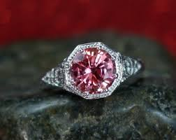 padparadscha sapphire engagement ring padparadscha ring etsy