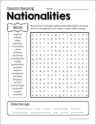 word search nationalities printable spanish nationalities vocabulary and grammar unit by spanish made easy