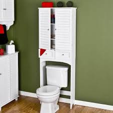 white wooden over toilet cabinet with double doors and drawers