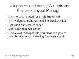 text layout programming guide guide to programming with python chapter ten gui development the