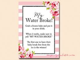 my water baby shower my water frozen baby cube pink stripes black