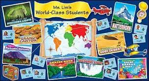 around the world classroom display scalloped trimmer primary