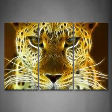 3 piece wall art painting leopard head portrait print on canvas