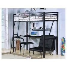 Loft Bed With Computer Desk Senon Kids Loft Bed With Desk Silver And Black Twin Acme Target