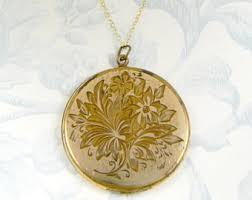 monogram locket antique locket gold etsy