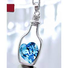 blue heart crystal necklace images Buy self edge collections creative women crystal blue heart in jpg