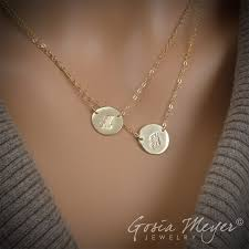 initials jewelry initial circular necklace layered initial necklace