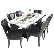 Black Beauty  Seater Marble Top Dining Table Set Woodys Furniture - Glass top dining table hyderabad