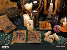 magic still life with crystals the tarot cards and candles