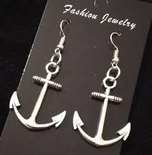 anchor earrings large anchor earrings nautical rockabilly charm studs hook dangle
