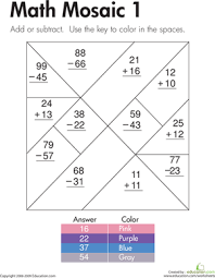 addition and subtraction math mosaic 1 worksheet education com