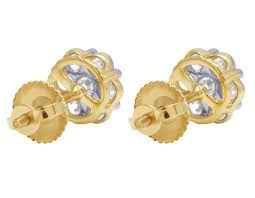 gold diamond stud earrings unisex 10k yellow gold real diamond flower cluster stud