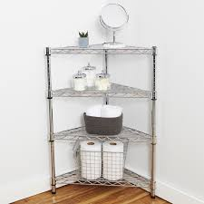 shelves magnificent teak corner bathroom shelf l wire shelving