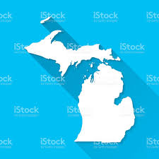 Michigan Map Outline by Michigan Map On Blue Background Long Shadow Flat Design Stock