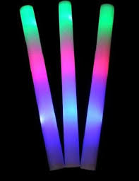 50 pack of 18 multi color foam baton led light sticks