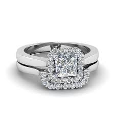 bridal ring sets princess cut floating halo diamond wedding ring set in 14k white
