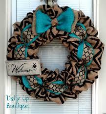 burlap wreath black and natural chevron teal wreath